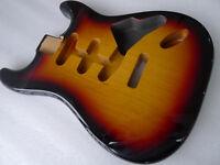 2 Piece North American Alder Strat SSS Stratocaster Guitar Body 3 Tone Sunbrust