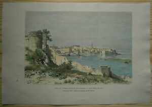 1886 Reclus print RABAT AND MOUTH OF BOU REGREG, MOROCCO (#72)