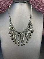 """Vintage Silver Dangling Rhinestone Charm  Necklace Pendant Double 18"""" Chain"""