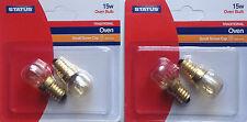 2 x STATUS Twin Pack 300° 15W Oven Appliance Light Bulb 240v 2 SES E14 Lamp
