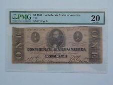 Civil War Confederate 1863 1 Dollar Bill PMG Richmond Virginia Paper Money CSA N