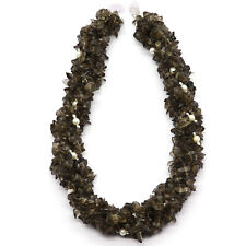 Twisted Necklace Made Of Smoky Quartz Uncut and Chinese Pearl Smooth Beads