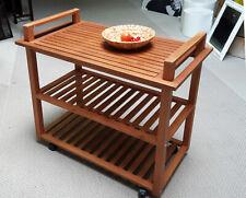 """Miavilla Servierwagen Beistellwagen """"Pier"""" Garten Outdoor Holz mit Tablett neu"""