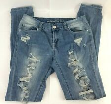 Almost Famous Womens 7 Juniors Jr Distressed Jeans Ripped Blue Wash / Bleach