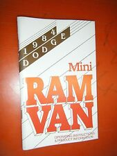 1984 Dodge Mini Ram Van Original Factory Operators Owners Manual Glove Box