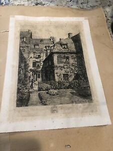 Rare German Original Etching Pencil Signed Etching By Hugo Ulbrich Numbered V2