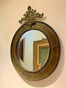 Antique  Brass or  Bronze  Metal Round Beveled Wall Mirror