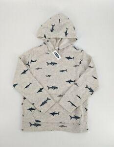 Old Navy Boys Gray Shark Hoodie Size Medium (8) NWT