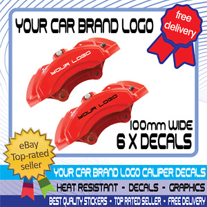 6 x Brake Caliper Decals Car Motorcycle Stickers High Temp Waterproof 100mm Wide