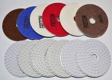"4"" 5mm Dry Wet Diamond Polishing Pads Granite Marble Concrete 7 pads FULL SET !"