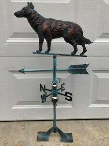 Wolf Weathervane Antiqued Copper Finish Weather Vane Hand Crafted