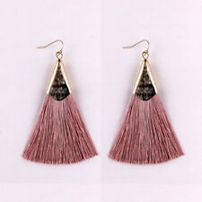 Bohemian Tassel Earrings Red Pink Silk Fabric Long Drop Dangle Tassel Earrings
