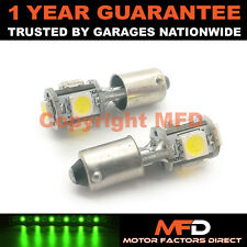2X XENON GREEN BA9S T4W 233 SIDELIGHT UPGRADE 5 SMD LED BULBS CANBUS