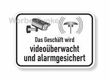 Das Geschäft wird videoüberwacht und alarmgesichert - Aufkleber 15 x 10,5 cm