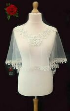 Gibson's Gowns Champagne 'wedding bells' lace trimmed soft tulle bridal cape