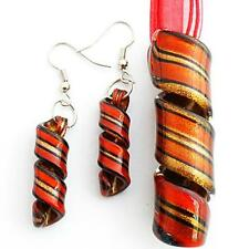 Glass Pendant Necklace Earrings Set Red Gold Foiled Twist Handmade Lampwork
