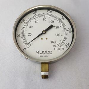 "= Miljoco Pressure Gauge 0-160 PSI 5"" Diameter USA Made"