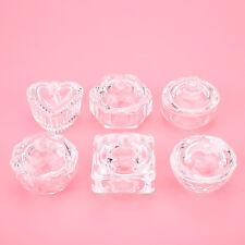 Crystal Clear Glass Dappen Dish Cup w/ Lid For Nail Acrylic Liquid Powder