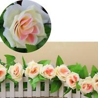 8Ft Fake Rose Garland Silk Flower Rattan Vine Ivy Home Wedding Garden Decor AE