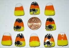 HALLOWEEN CANDY CORN/SPIDER LAMPWORK BEAD LOT-50 PIECES-SPIDERS ON 1 SIDE-ORANGE