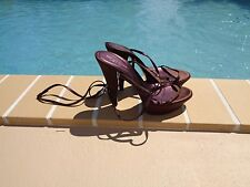 SERGIO ROSSI BROWN SATIN STRAPPY PLATFORM SANDAL PUMPS Sz 38.5M MADE IN ITALY