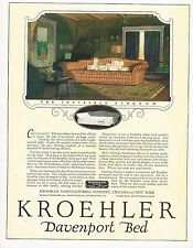 1920s BIG Original Vintage Kroehler Furniture Davenport Bed Art Print Ad