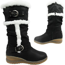 Womens Knee High Calf Strap Fur Lined Grip Winter Snow Boots Shoe Flat Wedge low