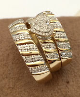 14K Yellow Gold Fn His Hers Diamond Engagement Bridal Wedding Band Trio Ring Set