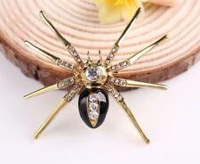 """2"""" Tono Oro Araña Broche Pin Con Cristales Diamante Estrás incrustada"""