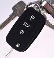 Klapp Schlüssel Hülle Cover Silikon Schwarz f. AUDI A4 B6 A3 8L A6 C5 A2 K