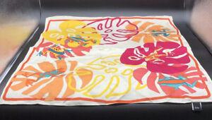"""ECHO Silk Scarf Tropical Palm Leaf Coral Teal Pink Orange Yellow 20""""x21"""""""