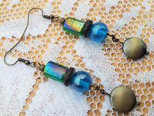 Handmade Earrings Blue Green Bronze Wood Bead Dangle Boho Costume Jewellery