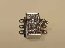 Textured Rhinestone multi strand Box Clasp with 3 rhinestones, Platinum, Brass