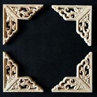 4x Holz Ornament Verzierungen Holzornamente Holzzierteile für Möbel Tür Schrank