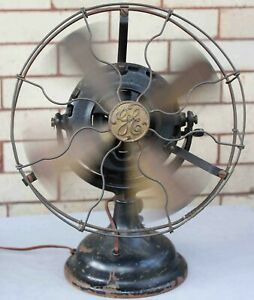 c.1902 antique G.E. PANCAKE ELECTRIC FAN - w/ Brass Blades & Brass Guard - WORKS