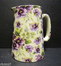 Heron Cross Pottery PANSY (IVORY) Chintz English 1/2 Pint Milk Jug