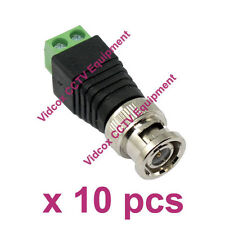 10x Cat5 UTP Cable to Coaxial BNC Male Connector Jack Balun CCTV Security Camera