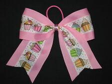 "NEW ""PINK CUPCAKES"" Cheer Bow Birthday Pony Tail 3"" Ribbon Girls Cheerleading"