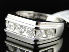 Mens 10k White Gold Diamond Channel Set 9 MM Wedding Engagement Band Ring 1 Ct