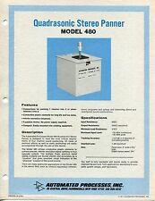 "1971 Vintage ""AP"" Sales Sheet: ""QUADRASONIC STEREO PANNER MODEL 480"""