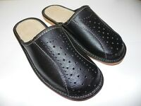 Mens leather slippers 100% natural leather size UK 6.5, 7.5, 8, 9, 9.5, 10.5, 11