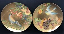 Vintage Set of 2 Andrea by Sadek Gold Ceramic Decorative Plates With Birds