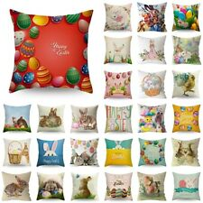 "18"" Easter Rabbit Bunny Egg Printed Pillow Case Sofa Car Cushion Cover Home Deco"