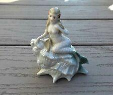 Vintage Germany Lusterware Figure Mermaid on Seashell Lovely German Figurine