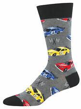 NEW Mens Fun Novelty Socks Car Racing Motor Sports on Charcoal - Sock Size 10-13
