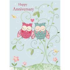 Anniversary Card - Illustrative Owls 'Anniversary'