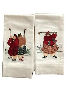 Pair Of Whimsical Golfers Embroidered Cotton Blend  Hand Towels  NWOT