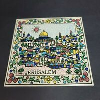 Vintage Jerusalem Ceramic Tile Kitchen Trivet 6 x 6 Hand Painted Israel