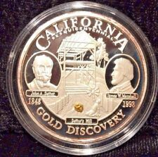 California Sesquicentennial .999 Silver Proof Medallion w/Authentic Gold Nugget