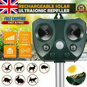 Solar Ultrasonic Animal Repeller Powered Deterrent Animal Pest Scarer Repellent